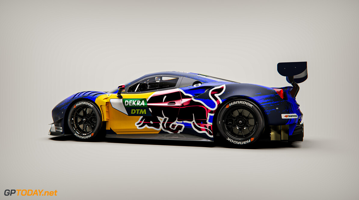 Graphic rendering of the Ferrari 488 GT3 Evo 2020 to be driven by Liam Lawson in the 2021 DTM series. // Red Bull Media House // SI202102020010 // Usage for editorial use only //  Red Bull Car Livery     SI202102020010