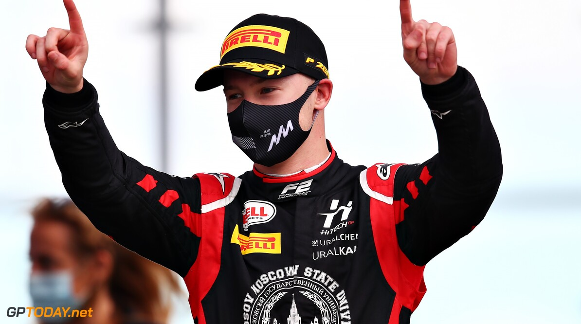 1263162939 NORTHAMPTON, ENGLAND - AUGUST 01: Race winner Nikita Mazepin of Russia and Hitech Grand Prix celebrates on the podium during the feature race for the Formula 2 Championship at Silverstone on August 01, 2020 in Northampton, England. (Photo by Joe Portlock - Formula 1/Formula 1 via Getty Images) Formula 2 Championship - Round 4:Silverstone - Feature Race Joe Portlock - Formula 1 Northampton United Kingdom  sport motorsport formula one racing