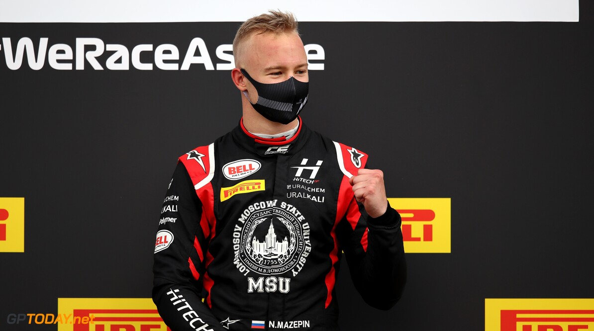 1263171054 NORTHAMPTON, ENGLAND - AUGUST 01: Race winner Nikita Mazepin of Russia and Hitech Grand Prix celebrates on the podium during the feature race for the Formula 2 Championship at Silverstone on August 01, 2020 in Northampton, England. (Photo by Joe Portlock - Formula 1/Formula 1 via Getty Images) Formula 2 Championship - Round 4:Silverstone - Feature Race Joe Portlock - Formula 1 Northampton United Kingdom  sport motorsport formula one racing