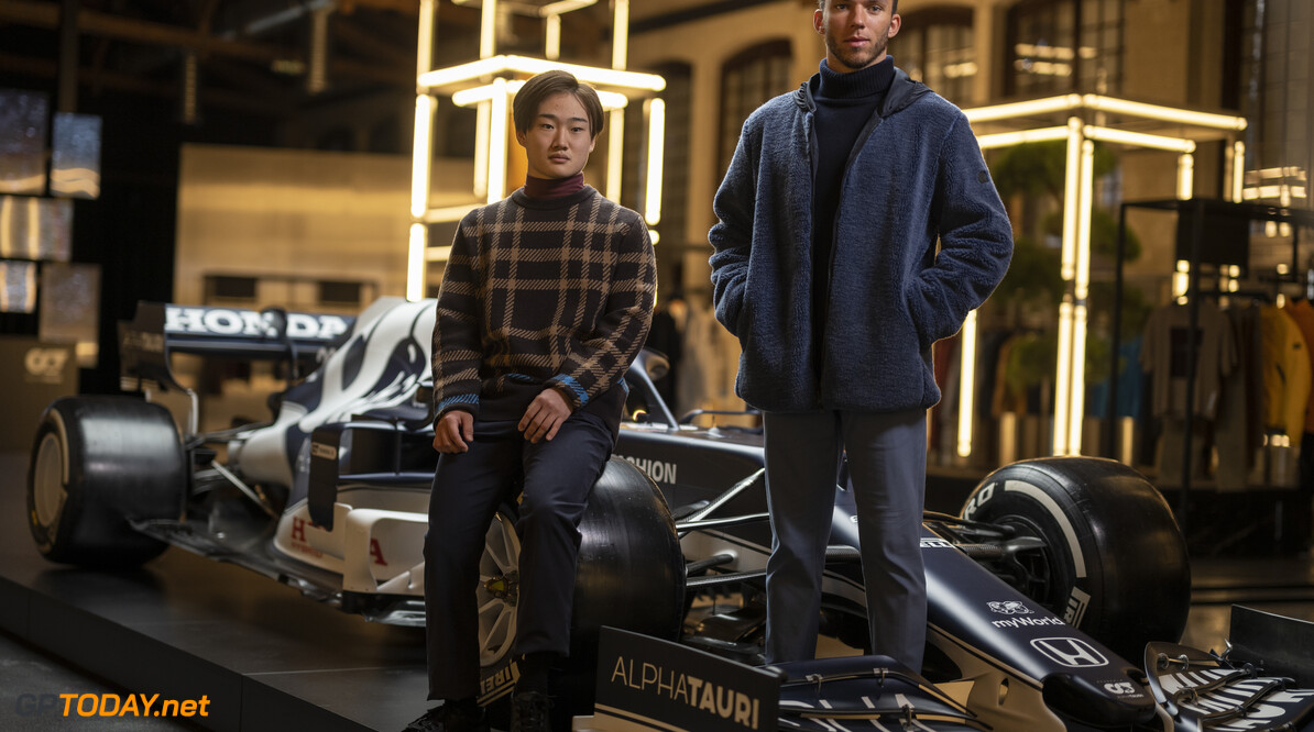 Yuki Tsunoda of Japan and Pierre Gasly of France seen during the Suderia AlphaTauri AT02 Livery Reveal 2021 - Fashion meets Formula 1 in Salzburg, Austria on February 15, 2021. // Joerg Mitter / Red Bull Content Pool // SI202102180134 // Usage for editorial use only //  Yuki Tsunoda and Pierre Gasly     SI202102180134