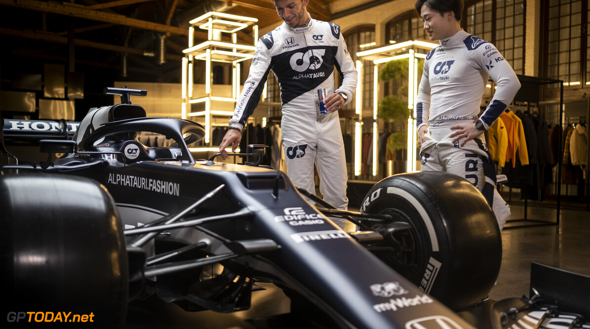 Yuki Tsunoda of Japan and Pierre Gasly of France seen during the Suderia AlphaTauri AT02 Livery Reveal 2021 - Fashion meets Formula 1 in Salzburg, Austria on February 15, 2021. // Joerg Mitter / Red Bull Content Pool // SI202102180150 // Usage for editorial use only //  Yuki Tsunoda and Pierre Gasly     SI202102180150