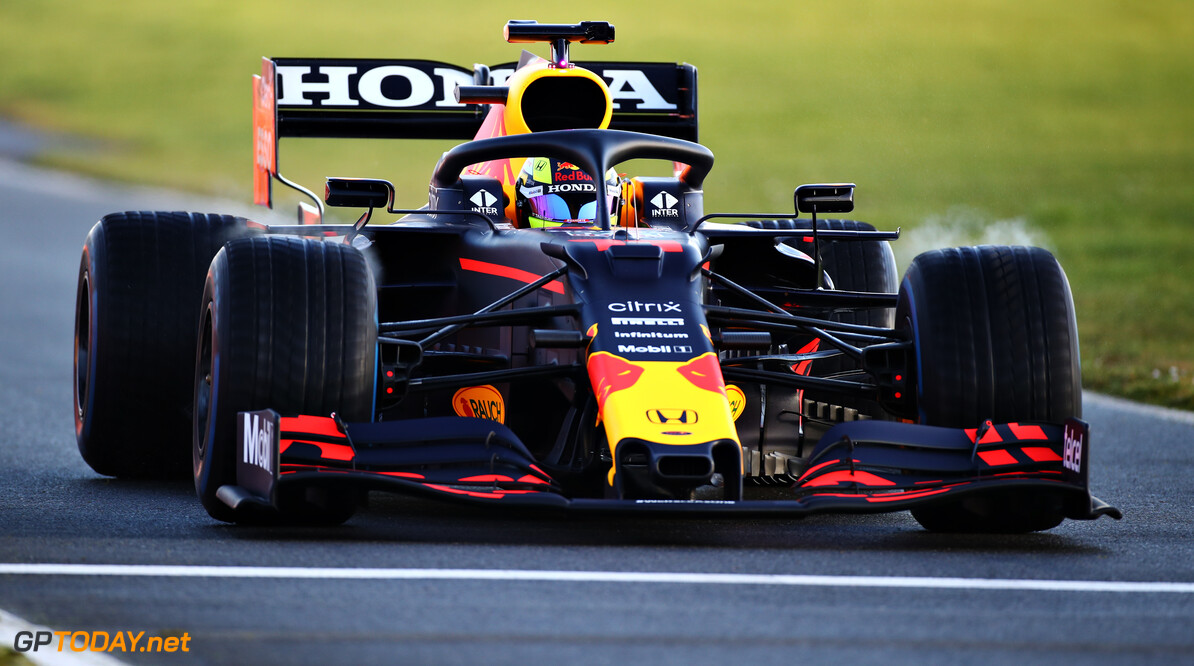 NORTHAMPTON, ENGLAND - FEBRUARY 22: Sergio Perez of Mexico driving the (11) Red Bull Racing RB15 Honda at Silverstone on February 22, 2021 in Northampton, England. (Photo by Bryn Lennon/Getty Images for Red Bull Racing) // Getty Images / Red Bull Content Pool  // SI202102230152 // Usage for editorial use only //  Red Bull Racing Filming Day     SI202102230152