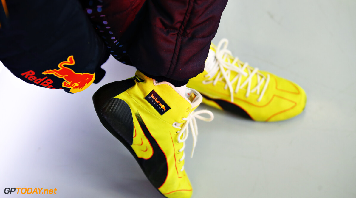 NORTHAMPTON, ENGLAND - FEBRUARY 22: A detail shot of the race boots of Sergio Perez of Mexico and Red Bull Racing during the Red Bull Racing filming day at Silverstone on February 22, 2021 in Northampton, England. (Photo by Mark Thompson/Getty Images for Red Bull Racing) // Getty Images / Red Bull Content Pool  // SI202102230179 // Usage for editorial use only //  Red Bull Racing Filming Day     SI202102230179