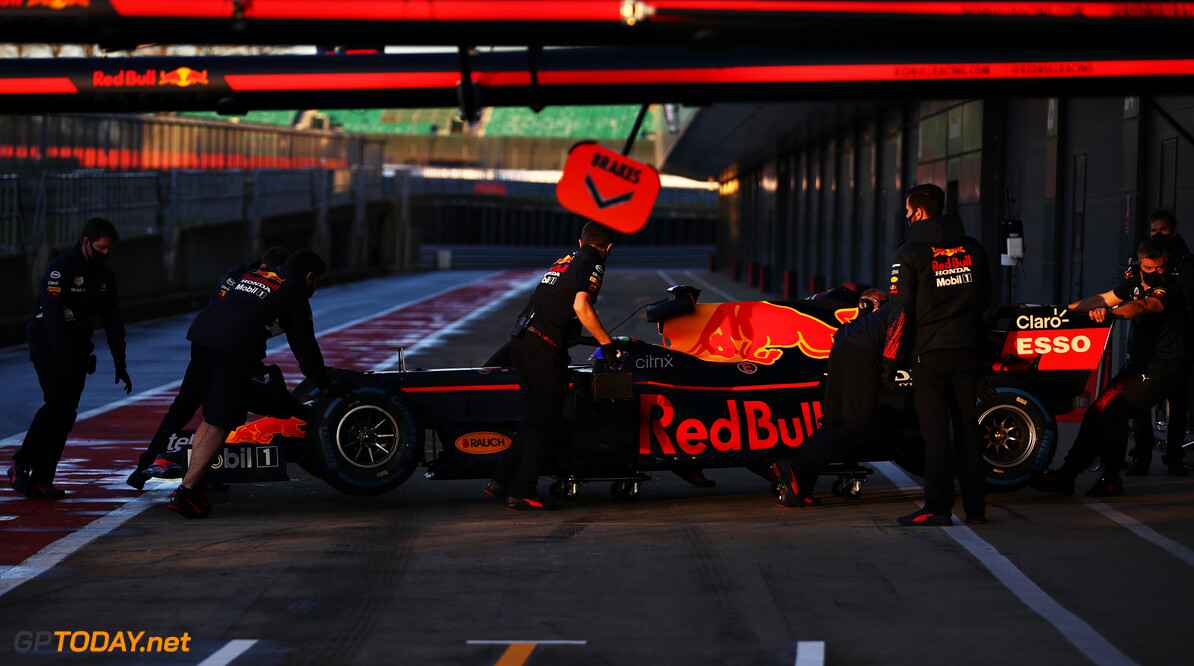 NORTHAMPTON, ENGLAND - FEBRUARY 22: Sergio Perez of Mexico driving the (11) Red Bull Racing RB15 Honda stops in the pitlane during the Red Bull Racing filming day at Silverstone on February 22, 2021 in Northampton, England. (Photo by Mark Thompson/Getty Images for Red Bull Racing) // Getty Images / Red Bull Content Pool  // SI202102230134 // Usage for editorial use only //  Red Bull Racing Filming Day     SI202102230134