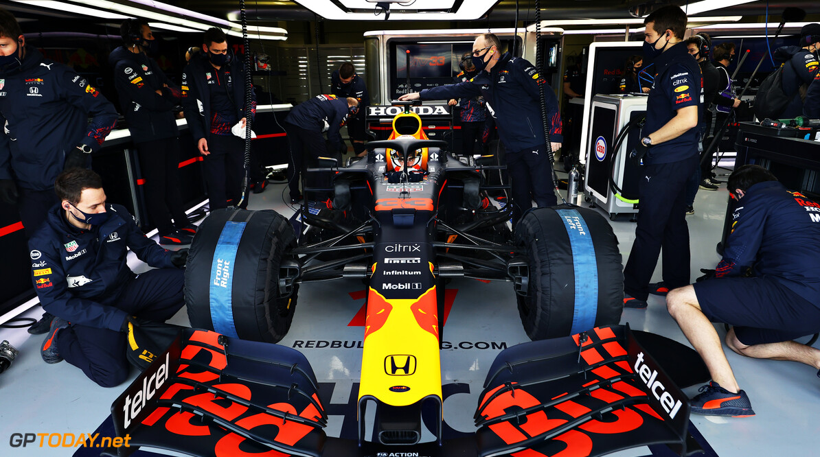 NORTHAMPTON, ENGLAND - FEBRUARY 24: Max Verstappen of Netherlands and Red Bull Racing prepares to drive in the garage during the Red Bull Racing Filming Day at Silverstone on February 24, 2021 in Northampton, England. (Photo by Mark Thompson/Getty Images for Red Bull Racing) // Getty Images / Red Bull Content Pool  // SI202102240126 // Usage for editorial use only //  Max Verstappen     SI202102240126