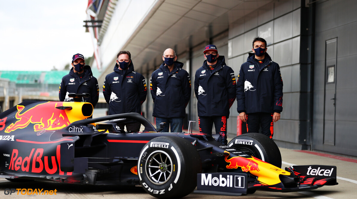 NORTHAMPTON, ENGLAND - FEBRUARY 24: Sergio Perez of Mexico and Red Bull Racing, Red Bull Racing Team Principal Christian Horner, Adrian Newey, the Chief Technical Officer of Red Bull Racing, Max Verstappen of Netherlands and Red Bull Racing and Alexander Albon of Thailand and Red Bull Racing pose for a photo with the RB15 during the Red Bull Racing Filming Day at Silverstone on February 24, 2021 in Northampton, England. (Photo by Dan Istitene/Getty Images for Red Bull Racing) // Getty Images / Red Bull Content Pool  // SI202102240206 // Usage for editorial use only //  Sergio Perez, Christian Horner, Adrian Newey, Max Verstappen and Alexander Albon     SI202102240206