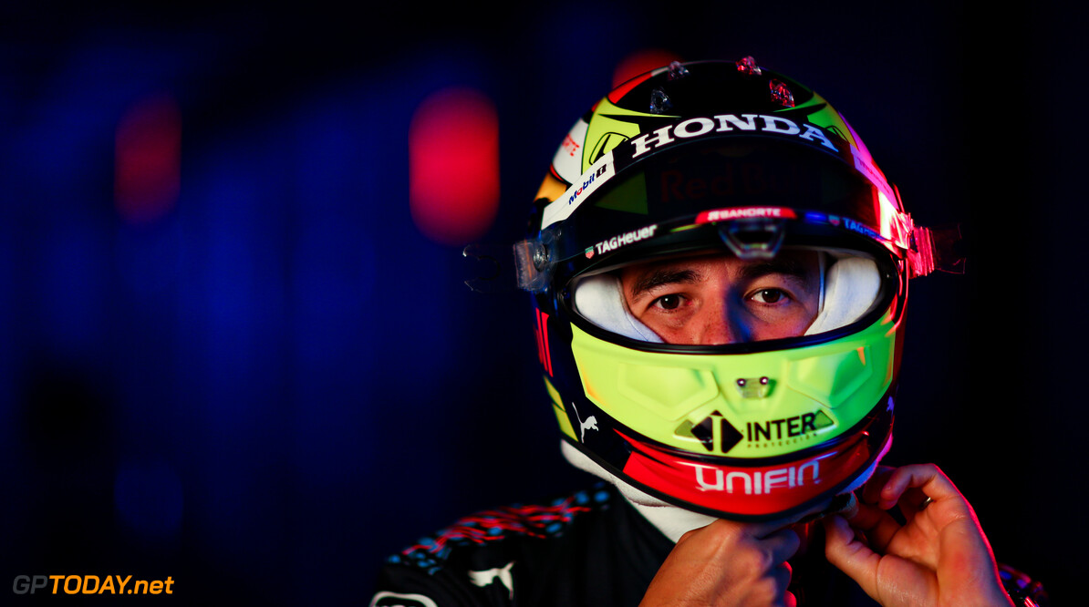 NORTHAMPTON, ENGLAND - FEBRUARY 24: Sergio Perez of Mexico and Red Bull Racing poses for a photo during the Red Bull Racing Filming Day at Silverstone on February 24, 2021 in Northampton, England. (Photo by Dan Istitene/Getty Images for Red Bull Racing) // Getty Images / Red Bull Content Pool  // SI202102240138 // Usage for editorial use only //  Sergio P?? 1/2 rez     SI202102240138