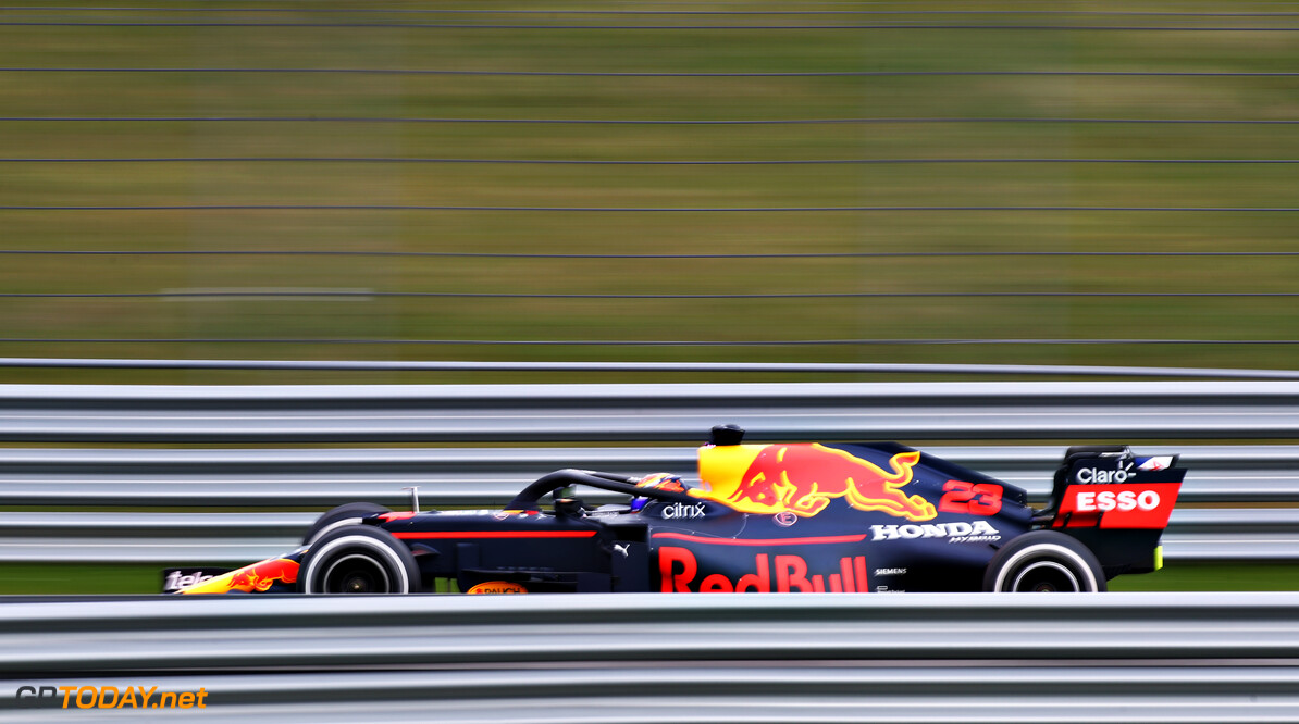 NORTHAMPTON, ENGLAND - FEBRUARY 24: Alexander Albon of Thailand driving the Red Bull Racing RB15 Honda during the Red Bull Racing Filming Day at Silverstone on February 24, 2021 in Northampton, England. (Photo by Bryn Lennon/Getty Images for Red Bull Racing) // Getty Images / Red Bull Content Pool  // SI202102240114 // Usage for editorial use only //  Alexander Albon     SI202102240114