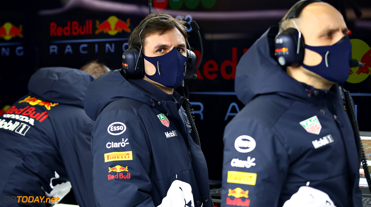 NORTHAMPTON, ENGLAND - FEBRUARY 24: Pierre Wache, Chief Engineer of Performance Engineering at Red Bull Racing looks on in the garage during the Red Bull Racing Filming Day at Silverstone on February 24, 2021 in Northampton, England. (Photo by Mark Thompson/Getty Images for Red Bull Racing) // Getty Images / Red Bull Content Pool  // SI202102240222 // Usage for editorial use only //  Red Bull Racing Filming Day     SI202102240222