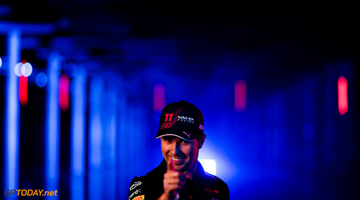 NORTHAMPTON, ENGLAND - FEBRUARY 24: Sergio Perez of Mexico and Red Bull Racing poses for a photo during the Red Bull Racing Filming Day at Silverstone on February 24, 2021 in Northampton, England. (Photo by Dan Istitene/Getty Images for Red Bull Racing) // Getty Images / Red Bull Content Pool  // SI202102240168 // Usage for editorial use only //  Sergio P?? 1/2 rez     SI202102240168