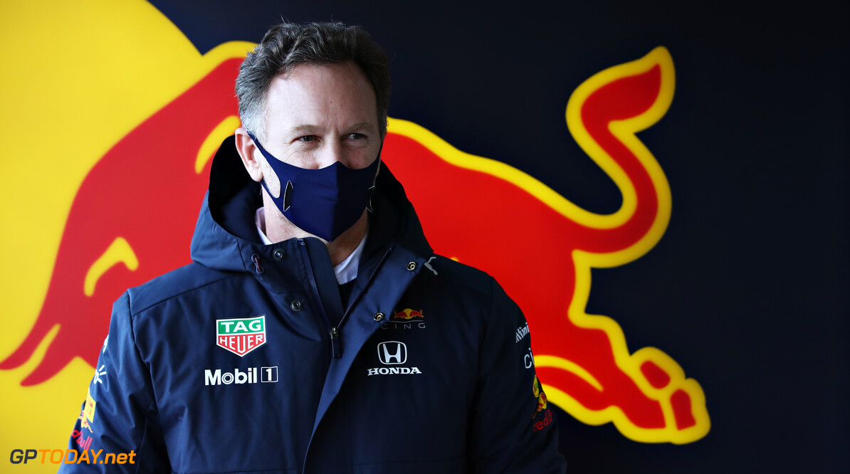 NORTHAMPTON, ENGLAND - FEBRUARY 24: Red Bull Racing Team Principal Christian Horner looks on in the garage during the Red Bull Racing Filming Day at Silverstone on February 24, 2021 in Northampton, England. (Photo by Mark Thompson/Getty Images for Red Bull Racing) // Getty Images / Red Bull Content Pool  // SI202102240158 // Usage for editorial use only //  Christian Horner     SI202102240158