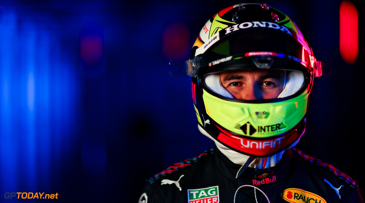 NORTHAMPTON, ENGLAND - FEBRUARY 24: Sergio Perez of Mexico and Red Bull Racing poses for a photo during the Red Bull Racing Filming Day at Silverstone on February 24, 2021 in Northampton, England. (Photo by Dan Istitene/Getty Images for Red Bull Racing) // Getty Images / Red Bull Content Pool  // SI202102240129 // Usage for editorial use only //  Sergio P?? 1/2 rez     SI202102240129