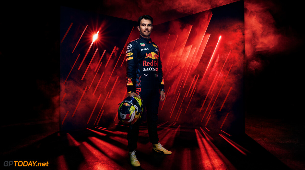 Sergio Perez posing for a portrait at a photoshoot in the studio on February 25, 2021 // Red Bull Racing / Red Bull Content Pool // SI202103100510 // Usage for editorial use only //  Sergio Perez     SI202103100510