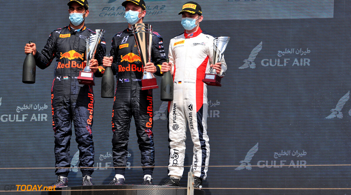FIA Formula 2 Championship The podium (L to R): Jehan Daruvala (IND) Carlin, second; Liam Lawson (NZL) Hitech, race winner; David Beckmann (GER) Charouz Racing System, third.  27.03.2021. FIA Formula 2 Championship, Rd 1, Sprint Race 1, Sakhir, Bahrain, Saturday.  - www.xpbimages.com, EMail: requests@xpbimages.com Copyright: XPB Images Motor Racing - FIA Formula 2 Championship - Saturday - Sakhir, Bahrain xpbimages.com Sahkir Bahrain  F2 Bahrain International Circuit Bahrain Manama Sakhir Saturday Formula 2 Formula Two March 27 03 3 2021 Portrait Winner  Victor Victory First Position First Place