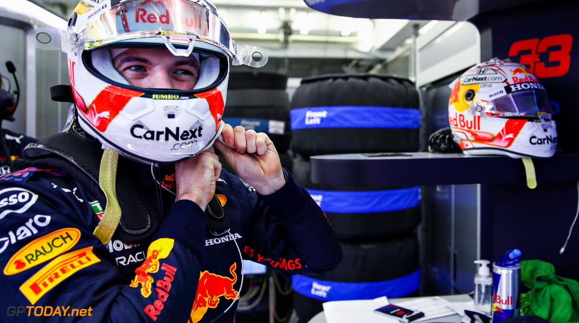 BAHRAIN, BAHRAIN - MARCH 27: Max Verstappen of Netherlands and Red Bull Racing prepares to drive in the garage during qualifying ahead of the F1 Grand Prix of Bahrain at Bahrain International Circuit on March 27, 2021 in Bahrain, Bahrain. (Photo by Mark Thompson/Getty Images) // Getty Images / Red Bull Content Pool  // SI202103270304 // Usage for editorial use only //  F1 Grand Prix of Bahrain - Qualifying     SI202103270304