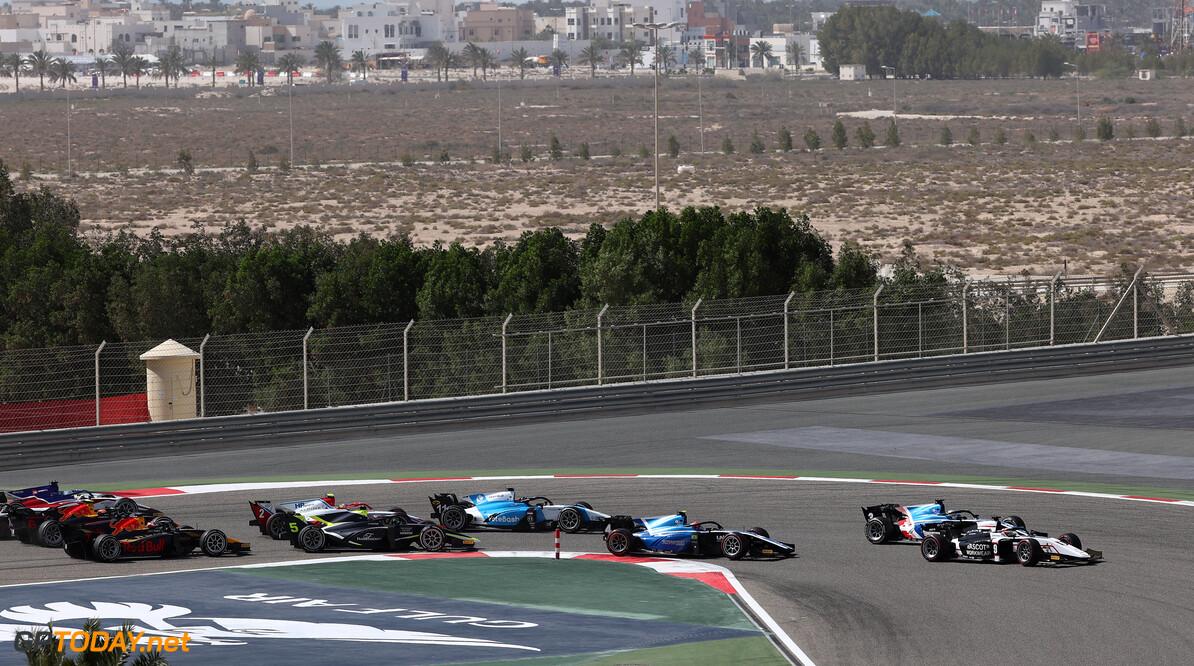 FIA Formula 2 Championship Christian Lundgaard (DEN) ART leads into Turn 1. 28.03.2021. FIA Formula 2 Championship, Rd 1, Feature Race, Sakhir, Bahrain, Sunday. - www.xpbimages.com, EMail: requests@xpbimages.com Copyright: XPB Images Motor Racing - FIA Formula 2 Championship - Sunday - Sakhir, Bahrain xpbimages.com Sahkir Bahrain  F2 Bahrain International Circuit Bahrain Manama Sakhir Sunday Formula 2 Formula Two March 28 03 3 2021 Action Track