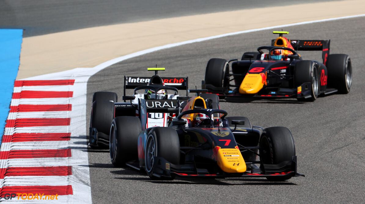 FIA Formula 2 Championship Liam Lawson (NZL) Hitech. 28.03.2021. FIA Formula 2 Championship, Rd 1, Feature Race, Sakhir, Bahrain, Sunday. - www.xpbimages.com, EMail: requests@xpbimages.com Copyright: XPB Images Motor Racing - FIA Formula 2 Championship - Sunday - Sakhir, Bahrain xpbimages.com Sahkir Bahrain  F2 Bahrain International Circuit Bahrain Manama Sakhir Sunday Formula 2 Formula Two March 28 03 3 2021 Action Track