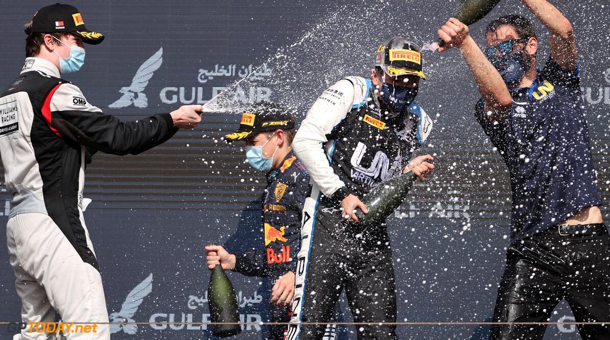 FIA Formula 2 Championship Guanyu Zhou (CHN) Uni-Virtuosi Racing, Daniel Ticktum (GBR), Carlin and Liam Lawson (NZL), Hitech Grand Prix  28.03.2021. FIA Formula 2 Championship, Rd 1, Feature Race, Sakhir, Bahrain, Sunday. - www.xpbimages.com, EMail: requests@xpbimages.com Copyright: XPB Images Motor Racing - FIA Formula 2 Championship - Sunday - Sakhir, Bahrain xpbimages.com Sahkir Bahrain  F2 Bahrain International Circuit Bahrain Manama Sakhir Sunday Formula 2 Formula Two March 28 03 3 2021 Action Track