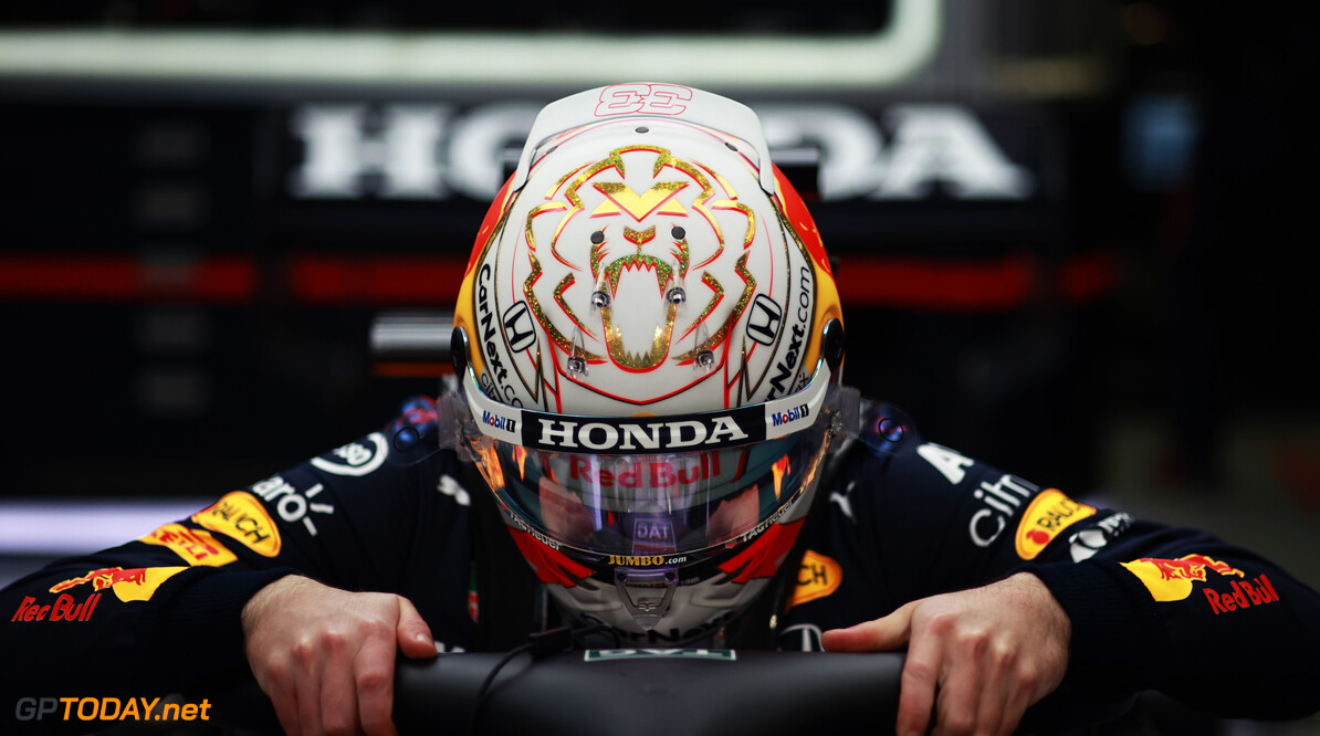 BAHRAIN, BAHRAIN - MARCH 28: Max Verstappen of Netherlands and Red Bull Racing prepares to drive in the garage during the F1 Grand Prix of Bahrain at Bahrain International Circuit on March 28, 2021 in Bahrain, Bahrain. (Photo by Mark Thompson/Getty Images) // Getty Images / Red Bull Content Pool  // SI202103280103 // Usage for editorial use only //  F1 Grand Prix of Bahrain     SI202103280103