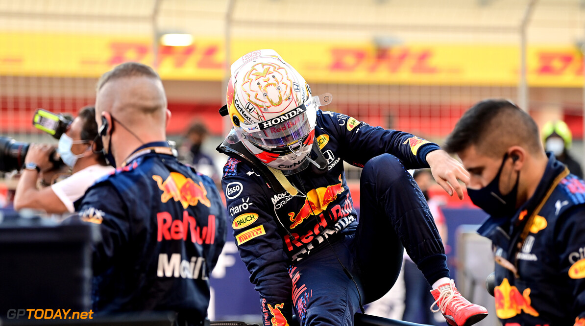 BAHRAIN, BAHRAIN - MARCH 28: Max Verstappen of Netherlands and Red Bull Racing prepares to drive on the grid ahead of the F1 Grand Prix of Bahrain at Bahrain International Circuit on March 28, 2021 in Bahrain, Bahrain. (Photo by Andrej Isakovic -Pool/Getty Images) // Getty Images / Red Bull Content Pool  // SI202103280114 // Usage for editorial use only //  F1 Grand Prix of Bahrain     SI202103280114
