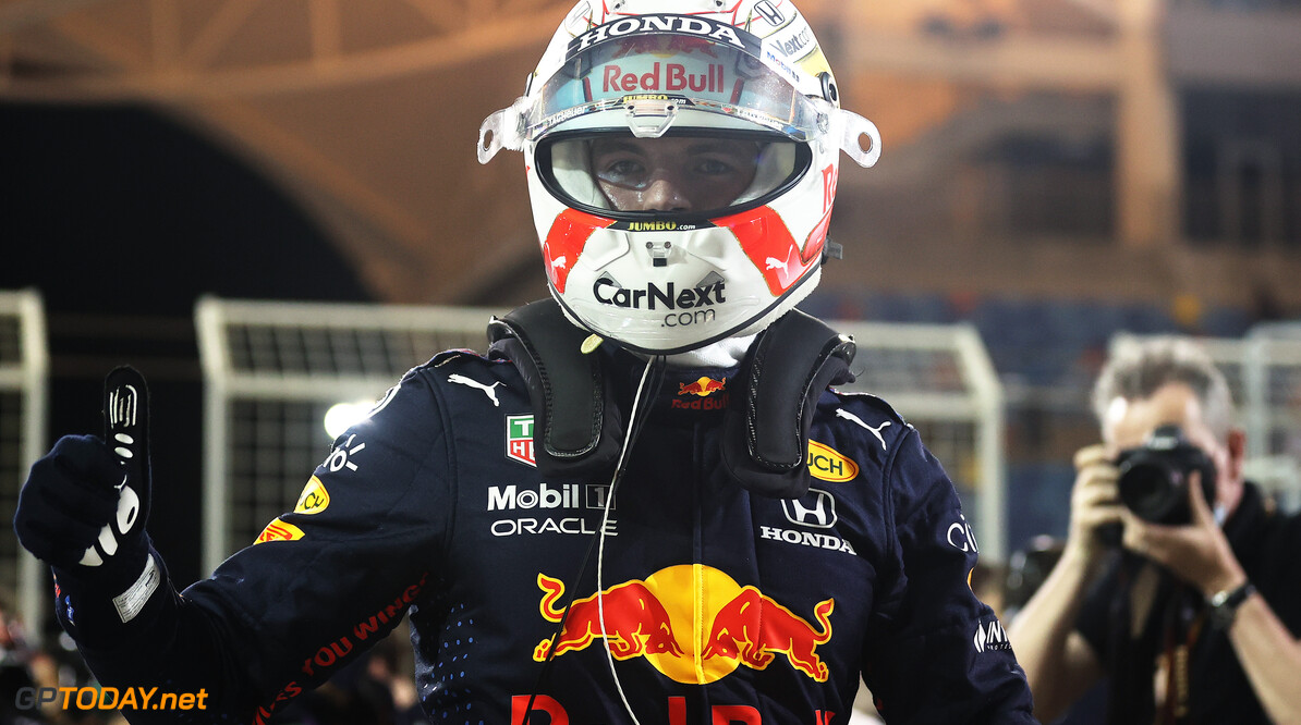 BAHRAIN, BAHRAIN - MARCH 27: Pole position qualifier Max Verstappen of Netherlands and Red Bull Racing celebrates in parc ferme during qualifying ahead of the F1 Grand Prix of Bahrain at Bahrain International Circuit on March 27, 2021 in Bahrain, Bahrain. (Photo by Lars Baron/Getty Images) // Getty Images / Red Bull Content Pool  // SI202103270368 // Usage for editorial use only //  F1 Grand Prix of Bahrain - Qualifying     SI202103270368