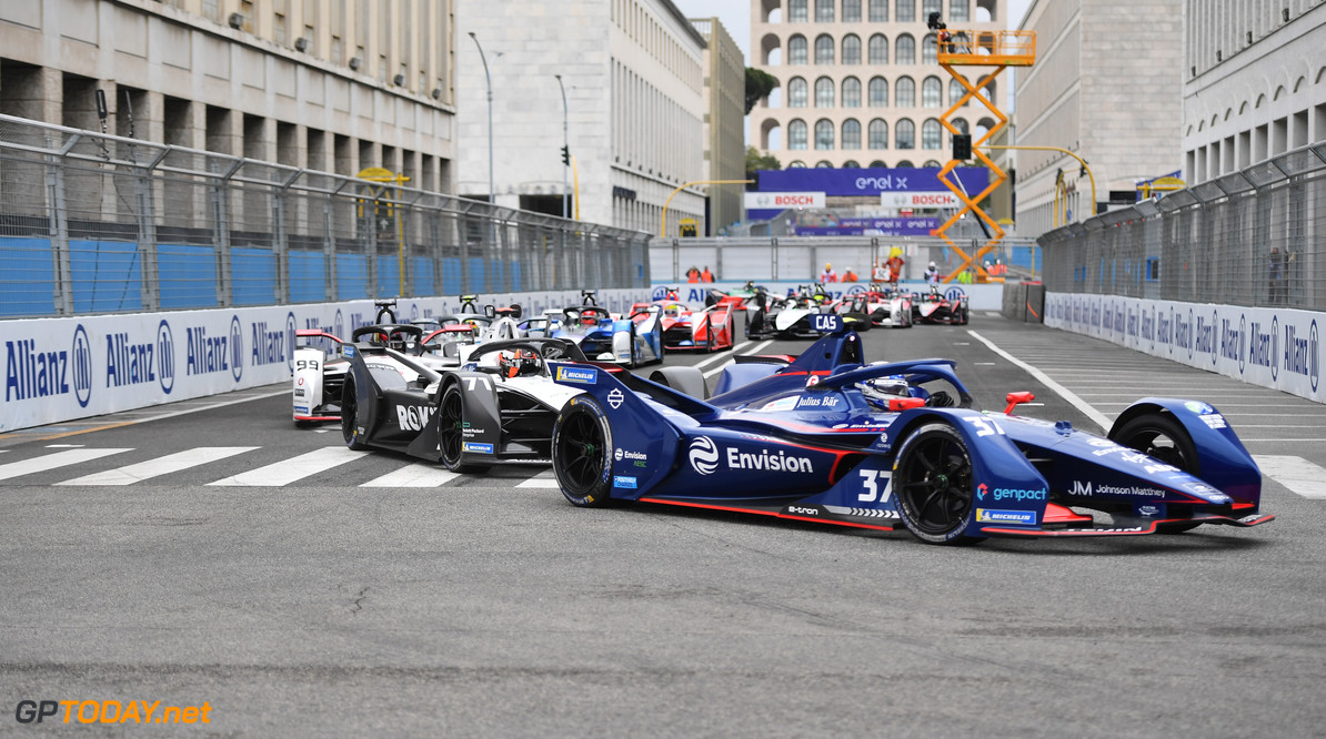 Nick Cassidy (NZL), Envision Virgin Racing, Audi e-tron FE07, leads the field at the start  Simon Galloway Rome Italy  action TS-Live Sunday Envision