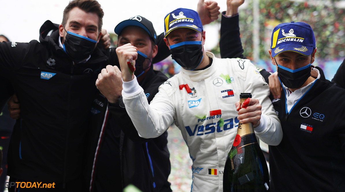 Stoffel Vandoorne (BEL), Mercedes Benz EQ, 1st position, celebrates with members of his team  Andy Hone Rome Italy  podium TS-Live Sunday Mercedes