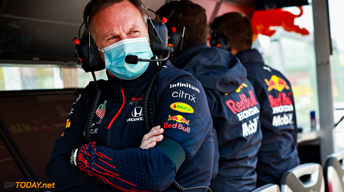 IMOLA, ITALY - APRIL 17: Red Bull Racing Team Principal Christian Horner looks on from the pitwall wearing a black armband in honour of the late Duke of Edinburgh during final practice ahead of the F1 Grand Prix of Emilia Romagna at Autodromo Enzo e Dino Ferrari on April 17, 2021 in Imola, Italy. (Photo by Mark Thompson/Getty Images) // Getty Images / Red Bull Content Pool  // SI202104170073 // Usage for editorial use only //  F1 Grand Prix of Emilia Romagna - Final Practice     SI202104170073
