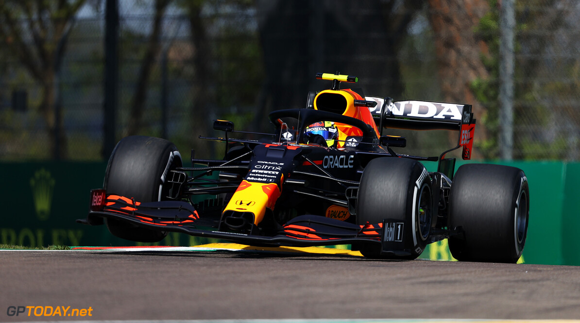 IMOLA, ITALY - APRIL 16: Sergio Perez of Mexico driving the (11) Red Bull Racing RB16B Honda on track during practice ahead of the F1 Grand Prix of Emilia Romagna at Autodromo Enzo e Dino Ferrari on April 16, 2021 in Imola, Italy. (Photo by Bryn Lennon/Getty Images) // Getty Images / Red Bull Content Pool  // SI202104160113 // Usage for editorial use only //  F1 Grand Prix of Emilia Romagna - Practice     SI202104160113