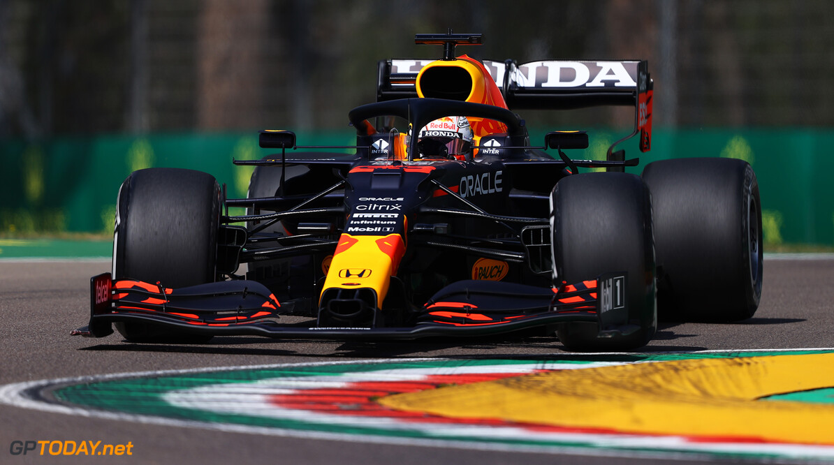 IMOLA, ITALY - APRIL 16: Max Verstappen of the Netherlands driving the (33) Red Bull Racing RB16B Honda on track during practice ahead of the F1 Grand Prix of Emilia Romagna at Autodromo Enzo e Dino Ferrari on April 16, 2021 in Imola, Italy. (Photo by Bryn Lennon/Getty Images) // Getty Images / Red Bull Content Pool  // SI202104160144 // Usage for editorial use only //  F1 Grand Prix of Emilia Romagna - Practice     SI202104160144