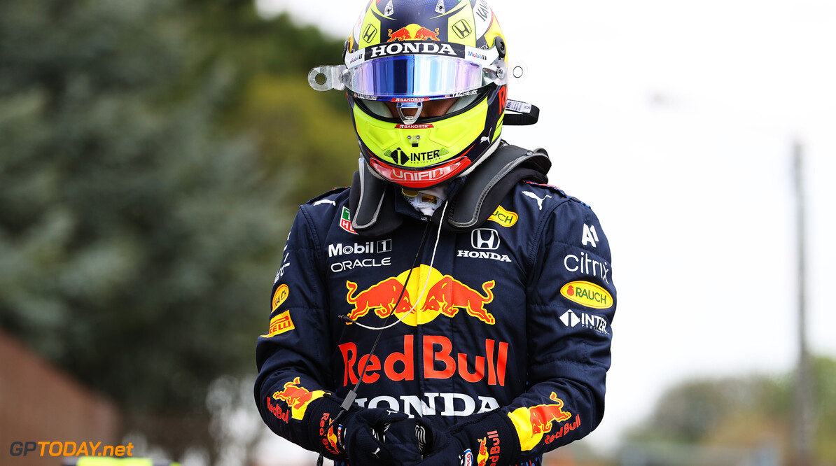 IMOLA, ITALY - APRIL 17: Second place qualifier Sergio Perez of Mexico and Red Bull Racing looks on in parc ferme during qualifying ahead of the F1 Grand Prix of Emilia Romagna at Autodromo Enzo e Dino Ferrari on April 17, 2021 in Imola, Italy. (Photo by Bryn Lennon/Getty Images) // Getty Images / Red Bull Content Pool  // SI202104170195 // Usage for editorial use only //  F1 Grand Prix of Emilia Romagna - Qualifying     SI202104170195