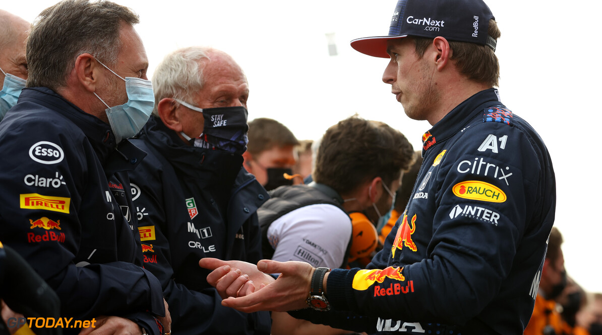 IMOLA, ITALY - APRIL 18: Race winner Max Verstappen of Netherlands and Red Bull Racing talks with Red Bull Racing Team Principal Christian Horner and Red Bull Racing Team Consultant Dr Helmut Marko in parc ferme after the F1 Grand Prix of Emilia Romagna at Autodromo Enzo e Dino Ferrari on April 18, 2021 in Imola, Italy. (Photo by Bryn Lennon/Getty Images) // Getty Images / Red Bull Content Pool  // SI202104180549 // Usage for editorial use only //  F1 Grand Prix of Emilia Romagna     SI202104180549