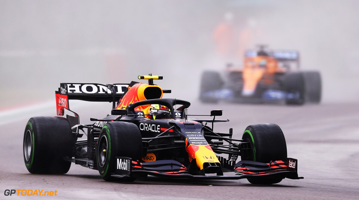 IMOLA, ITALY - APRIL 18: Sergio Perez of Mexico driving the (11) Red Bull Racing RB16B Honda on track during the F1 Grand Prix of Emilia Romagna at Autodromo Enzo e Dino Ferrari on April 18, 2021 in Imola, Italy. (Photo by Lars Baron/Getty Images) // Getty Images / Red Bull Content Pool  // SI202104180196 // Usage for editorial use only //  F1 Grand Prix of Emilia Romagna     SI202104180196