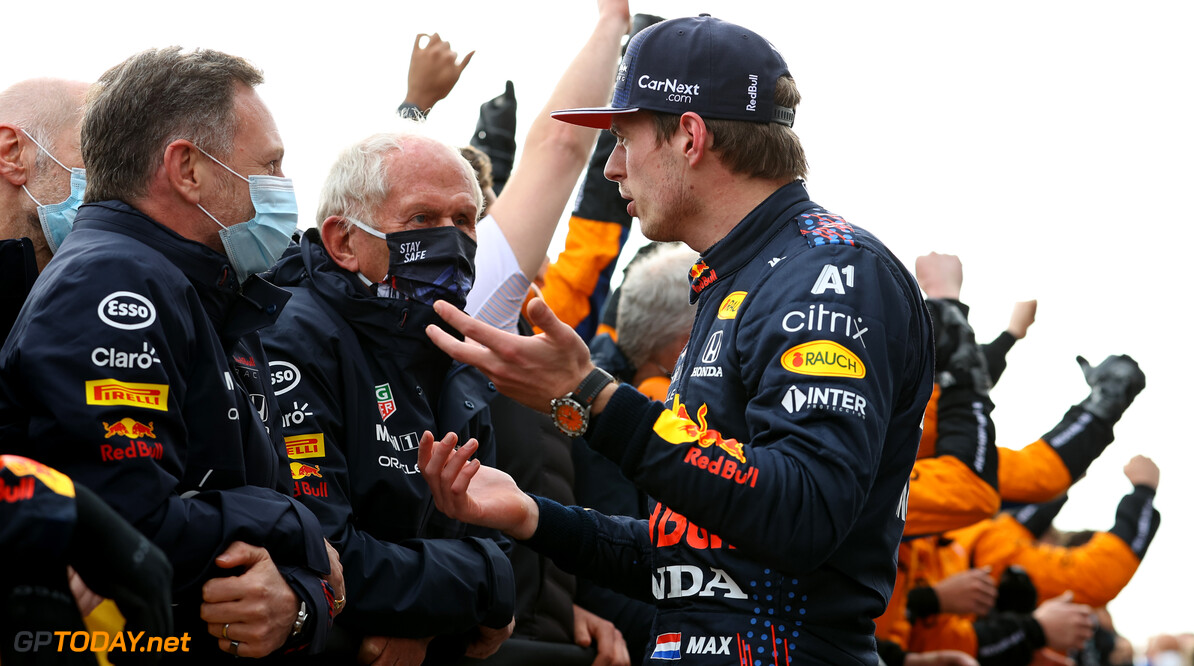 IMOLA, ITALY - APRIL 18: Race winner Max Verstappen of Netherlands and Red Bull Racing talks with Red Bull Racing Team Principal Christian Horner and Red Bull Racing Team Consultant Dr Helmut Marko in parc ferme after the F1 Grand Prix of Emilia Romagna at Autodromo Enzo e Dino Ferrari on April 18, 2021 in Imola, Italy. (Photo by Bryn Lennon/Getty Images) // Getty Images / Red Bull Content Pool  // SI202104180550 // Usage for editorial use only //  F1 Grand Prix of Emilia Romagna     SI202104180550