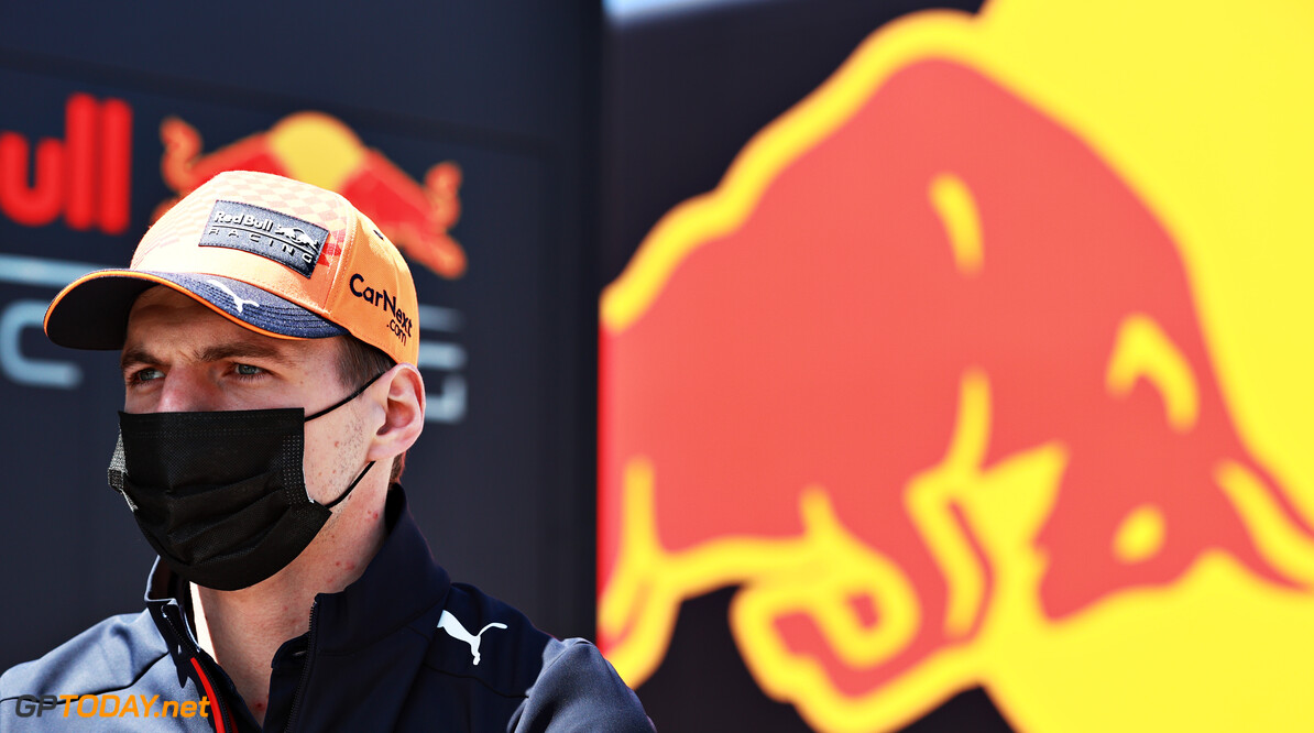 PORTIMAO, PORTUGAL - APRIL 29: Max Verstappen of Netherlands and Red Bull Racing looks on in the Paddock during previews ahead of the F1 Grand Prix of Portugal at Autodromo Internacional Do Algarve on April 29, 2021 in Portimao, Portugal. (Photo by Mark Thompson/Getty Images) // Getty Images / Red Bull Content Pool  // SI202104290232 // Usage for editorial use only //  F1 Grand Prix of Portugal - Previews     SI202104290232