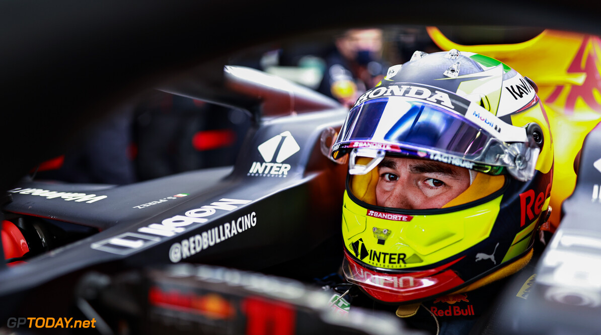 PORTIMAO, PORTUGAL - APRIL 30: Sergio Perez of Mexico and Red Bull Racing prepares to drive in the garage during practice ahead of the F1 Grand Prix of Portugal at Autodromo Internacional Do Algarve on April 30, 2021 in Portimao, Portugal. (Photo by Mark Thompson/Getty Images) // Getty Images / Red Bull Content Pool  // SI202104300940 // Usage for editorial use only //  F1 Grand Prix of Portugal - Practice     SI202104300940