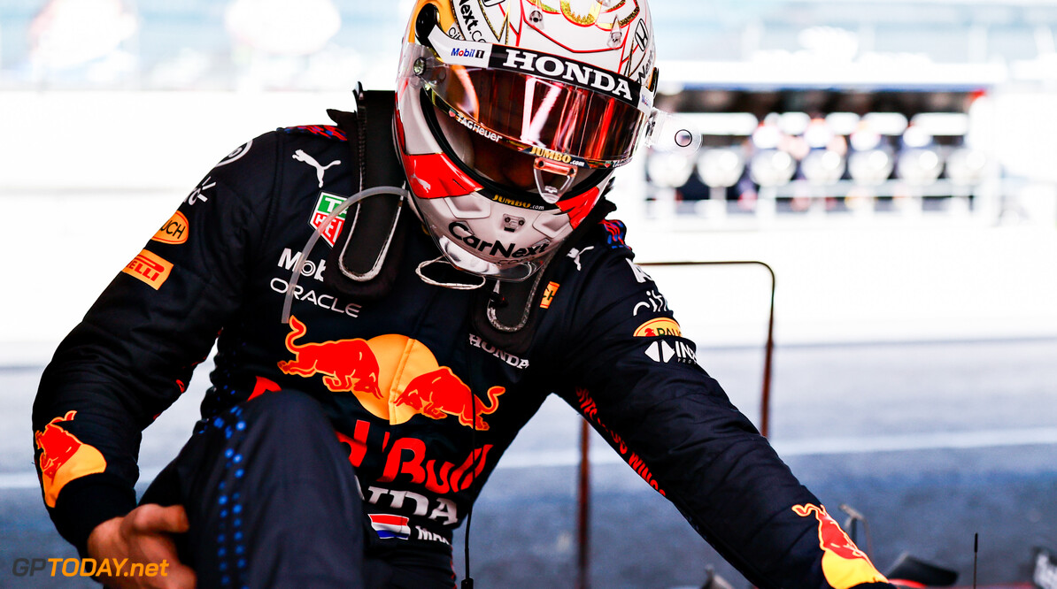 PORTIMAO, PORTUGAL - APRIL 30: Max Verstappen of Netherlands and Red Bull Racing prepares to drive in the garage during practice ahead of the F1 Grand Prix of Portugal at Autodromo Internacional Do Algarve on April 30, 2021 in Portimao, Portugal. (Photo by Mark Thompson/Getty Images) // Getty Images / Red Bull Content Pool  // SI202104300649 // Usage for editorial use only //  F1 Grand Prix of Portugal - Practice     SI202104300649