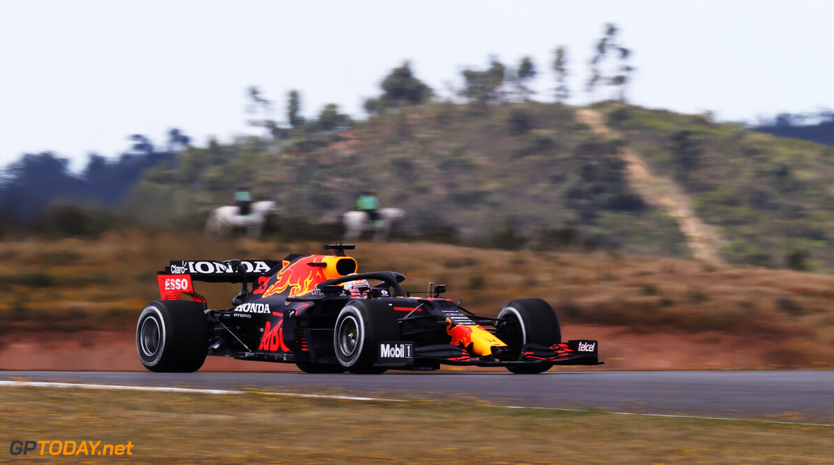 PORTIMAO, PORTUGAL - APRIL 30: Max Verstappen of the Netherlands driving the (33) Red Bull Racing RB16B Honda on track during practice ahead of the F1 Grand Prix of Portugal at Autodromo Internacional Do Algarve on April 30, 2021 in Portimao, Portugal. (Photo by Lars Baron/Getty Images) // Getty Images / Red Bull Content Pool  // SI202104300333 // Usage for editorial use only //  F1 Grand Prix of Portugal - Practice     SI202104300333