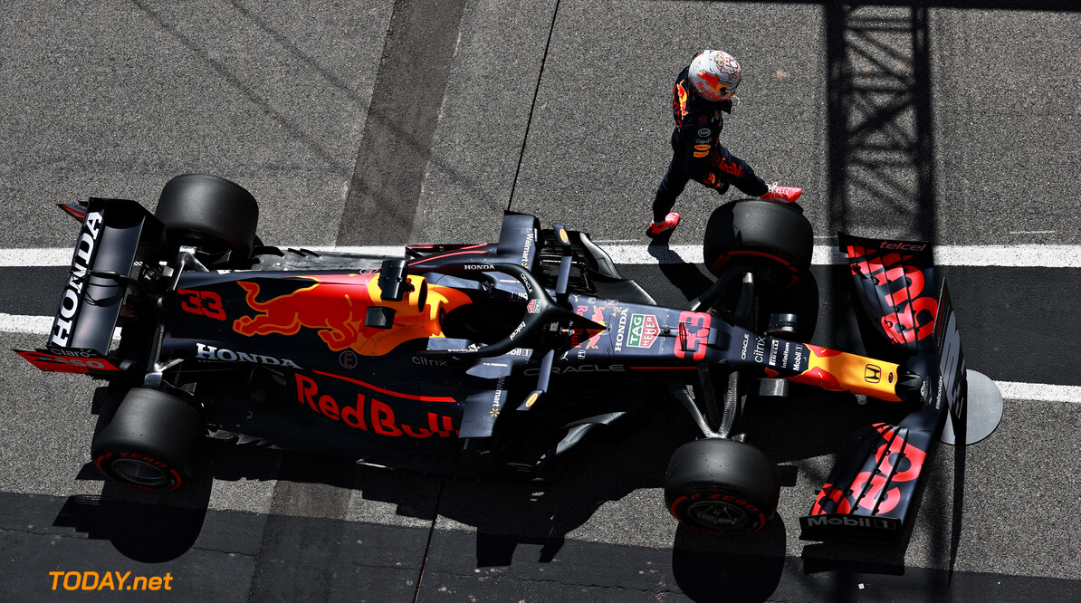 PORTIMAO, PORTUGAL - MAY 01: Third place qualifier Max Verstappen of Netherlands and Red Bull Racing looks on in parc ferme during qualifying for the F1 Grand Prix of Portugal at Autodromo Internacional Do Algarve on May 01, 2021 in Portimao, Portugal. (Photo by Mark Thompson/Getty Images) // Getty Images / Red Bull Content Pool  // SI202105010242 // Usage for editorial use only //  F1 Grand Prix of Portugal - Qualifying     SI202105010242