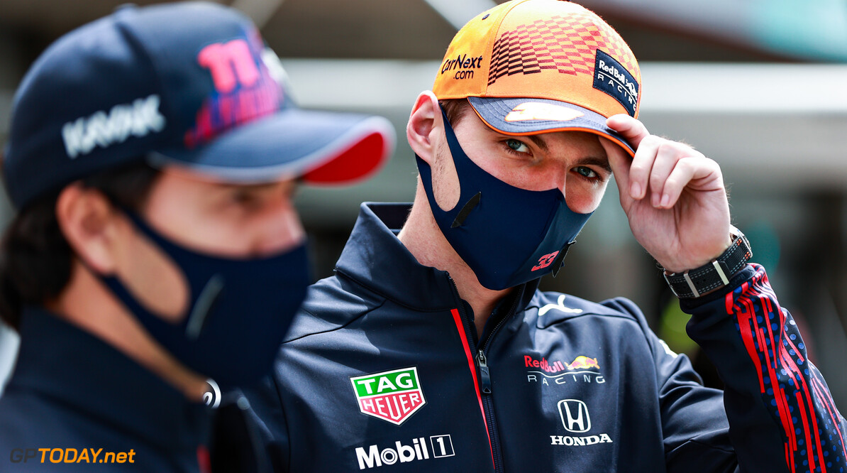 PORTIMAO, PORTUGAL - MAY 02: Max Verstappen of Netherlands and Red Bull Racing and Sergio Perez of Mexico and Red Bull Racing look on in the Paddock during the F1 Grand Prix of Portugal at Autodromo Internacional Do Algarve on May 02, 2021 in Portimao, Portugal. (Photo by Mark Thompson/Getty Images) // Getty Images / Red Bull Content Pool  // SI202105020070 // Usage for editorial use only //  F1 Grand Prix of Portugal     SI202105020070