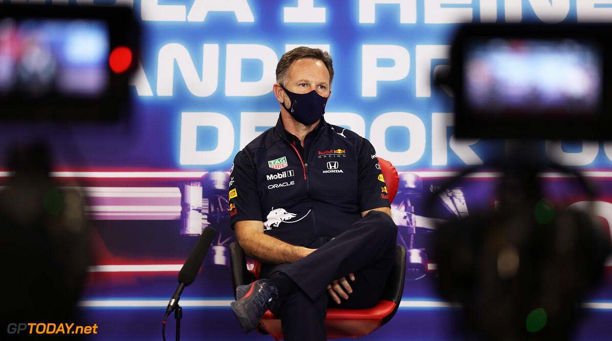 PORTIMAO, PORTUGAL - APRIL 30: Red Bull Racing Team Principal Christian Horner talks in the Team Principals Press Conference during practice ahead of the F1 Grand Prix of Portugal at Autodromo Internacional Do Algarve on April 30, 2021 in Portimao, Portugal. (Photo by Lars Baron/Getty Images) // Getty Images / Red Bull Content Pool  // SI202104300632 // Usage for editorial use only //  F1 Grand Prix of Portugal - Practice     SI202104300632