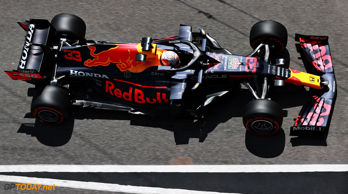PORTIMAO, PORTUGAL - MAY 01: Max Verstappen of the Netherlands driving the (33) Red Bull Racing RB16B Honda in the Pitlane during qualifying for the F1 Grand Prix of Portugal at Autodromo Internacional Do Algarve on May 01, 2021 in Portimao, Portugal. (Photo by Mark Thompson/Getty Images) // Getty Images / Red Bull Content Pool  // SI202105010267 // Usage for editorial use only //  F1 Grand Prix of Portugal - Qualifying     SI202105010267