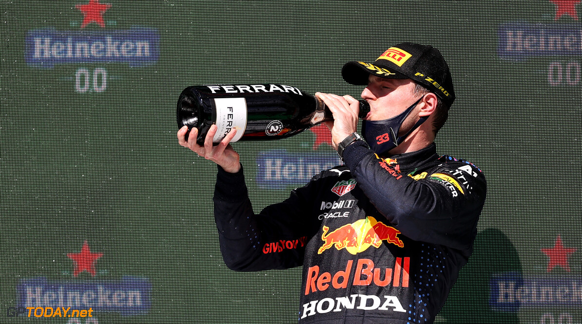 PORTIMAO, PORTUGAL - MAY 02: Second placed Max Verstappen of Netherlands and Red Bull Racing celebrates with sparkling wine on the podium during the F1 Grand Prix of Portugal at Autodromo Internacional Do Algarve on May 02, 2021 in Portimao, Portugal. (Photo by Lars Baron/Getty Images) // Getty Images / Red Bull Content Pool  // SI202105020276 // Usage for editorial use only //  F1 Grand Prix of Portugal     SI202105020276