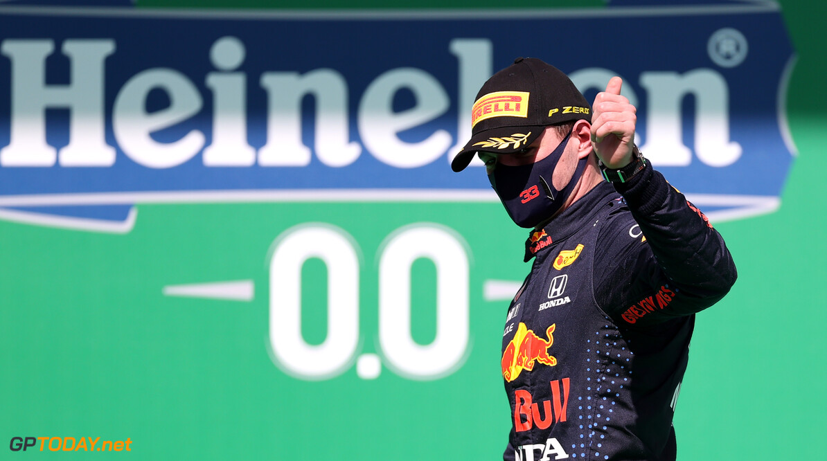 PORTIMAO, PORTUGAL - MAY 02: Second placed Max Verstappen of Netherlands and Red Bull Racing celebrates on the podium after the F1 Grand Prix of Portugal at Autodromo Internacional Do Algarve on May 02, 2021 in Portimao, Portugal. (Photo by Lars Baron/Getty Images) // Getty Images / Red Bull Content Pool  // SI202105020258 // Usage for editorial use only //  F1 Grand Prix of Portugal     SI202105020258