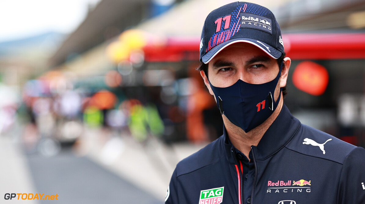 PORTIMAO, PORTUGAL - MAY 02: Sergio Perez of Mexico and Red Bull Racing looks on prior to the F1 Grand Prix of Portugal at Autodromo Internacional Do Algarve on May 02, 2021 in Portimao, Portugal. (Photo by Mark Thompson/Getty Images) // Getty Images / Red Bull Content Pool  // SI202105020518 // Usage for editorial use only //  F1 Grand Prix of Portugal     SI202105020518
