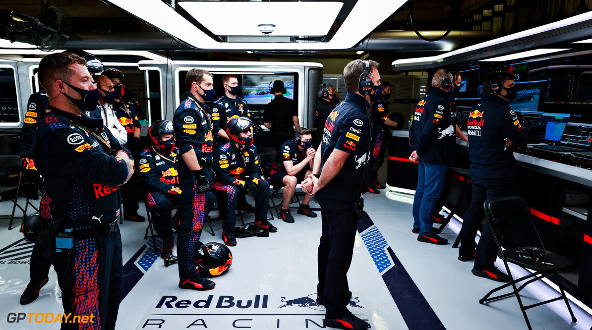 PORTIMAO, PORTUGAL - MAY 02: Red Bull Racing Team Principal Christian Horner watches the action in the garage during the F1 Grand Prix of Portugal at Autodromo Internacional Do Algarve on May 02, 2021 in Portimao, Portugal. (Photo by Mark Thompson/Getty Images) // Getty Images / Red Bull Content Pool  // SI202105020520 // Usage for editorial use only //  F1 Grand Prix of Portugal     SI202105020520