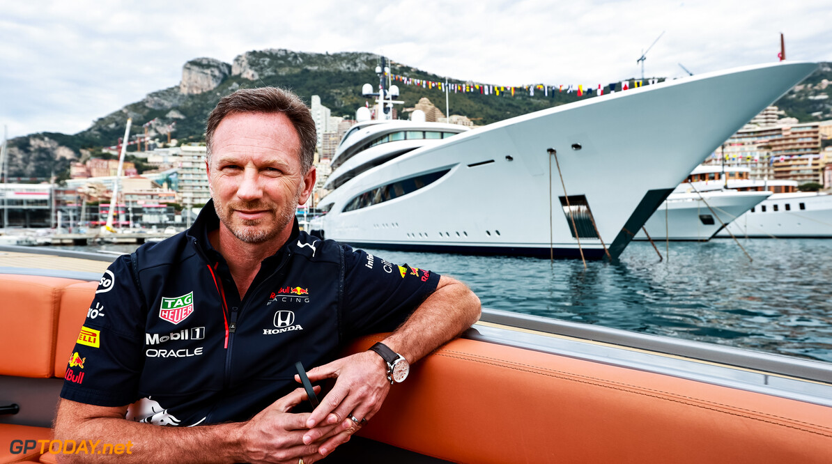 MONTE-CARLO, MONACO - MAY 23: Red Bull Racing Team Principal Christian Horner arrives at the circuit on a boat ahead of the F1 Grand Prix of Monaco at Circuit de Monaco on May 23, 2021 in Monte-Carlo, Monaco. (Photo by Mark Thompson/Getty Images) // Getty Images / Red Bull Content Pool  // SI202105230033 // Usage for editorial use only //  F1 Grand Prix of Monaco     SI202105230033