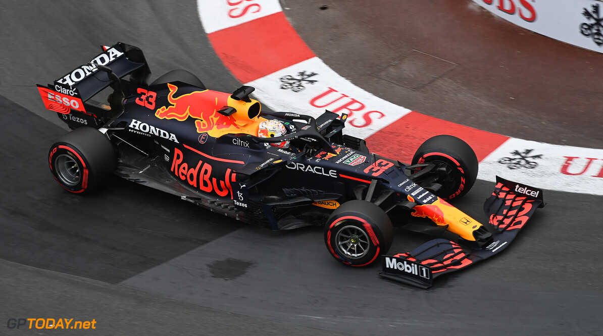 MONTE-CARLO, MONACO - MAY 22: Max Verstappen of the Netherlands driving the (33) Red Bull Racing RB16B Honda on track during qualifying for the F1 Grand Prix of Monaco at Circuit de Monaco on May 22, 2021 in Monte-Carlo, Monaco. (Photo by Sam Bagnall/Getty Images) // Getty Images / Red Bull Content Pool  // SI202105220411 // Usage for editorial use only //  F1 Grand Prix of Monaco - Practice & Qualifying     SI202105220411