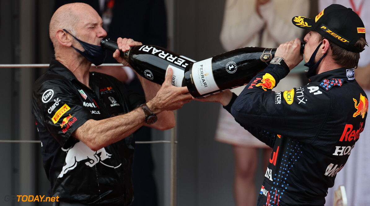 Formula One World Championship Adrian Newey (GBR) Red Bull Racing Chief Technical Officer with 1st place Max Verstappen (NLD) Red Bull Racing RB16B. 23.05.2021. Formula 1 World Championship, Rd 5, Monaco Grand Prix, Monte Carlo, Monaco, Race Day. - www.xpbimages.com, EMail: requests@xpbimages.com (C) Copyright: Batchelor / XPB Images Motor Racing - Formula One World Championship - Monaco Grand Prix - Sunday - Monte Carlo, Monaco XPB Images Monaco Monte Carlo  Formel1 Formel F1 Formula 1 Formula1 GP Grand Prix one May Monaco Monte Carlo Monte-Carlo Sunday 23 5 05 2021 Podium Portrait