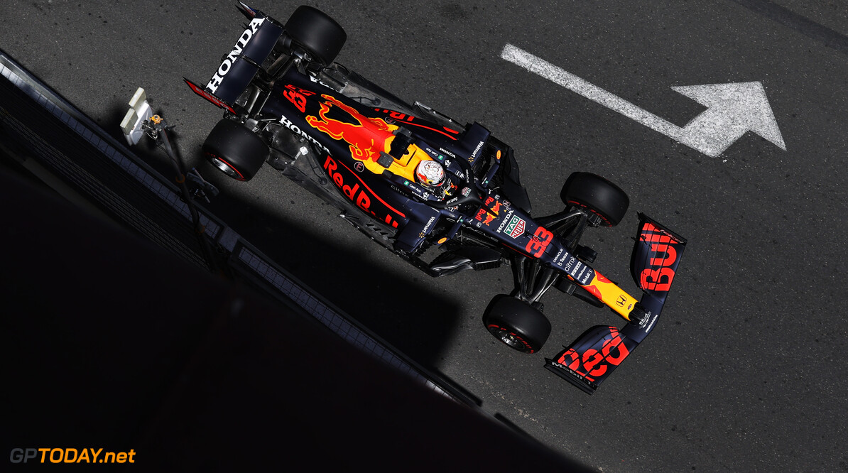 BAKU, AZERBAIJAN - JUNE 04: Max Verstappen of the Netherlands driving the (33) Red Bull Racing RB16B Honda on track during practice ahead of the F1 Grand Prix of Azerbaijan at Baku City Circuit on June 04, 2021 in Baku, Azerbaijan. (Photo by Clive Rose/Getty Images) // Getty Images / Red Bull Content Pool  // SI202106040201 // Usage for editorial use only //  F1 Grand Prix of Azerbaijan - Practice     SI202106040201